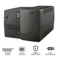 Trust Paxxon Gruppo di continuità UPS da 1000 VA 4 Uscite IEC-C13 Porta USB AVR