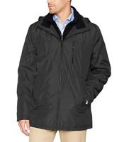 Calvin Klein Men's Midweight Hooded Jacket with Fleece Bib, Pewter, Large