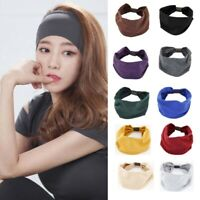 Cotton Elastic Wide Headband Solid Color Headwear for Yoga Work out Women USA