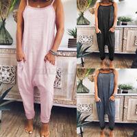 Womens CaJumpsuit Lounge Wear Romper Baggy Harem Playsuit Bib Pants Plus Size