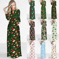 Christmas Maxi Dress Vintage Floral Long Dress Evening Party Costume for Women