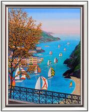 Fanch LEDAN Original Acrylic Painting On Canvas Signed Italian Landscape Art OIL