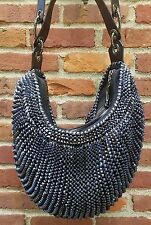 Diane von Furstenberg Stephanie Blue Metallic Leather Tote Medium Hobo Bag