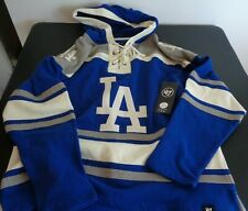 LOS ANGELES DODGERS Baseball '47 Brand Hockey Style Jersey SMALL Hoodie NEW