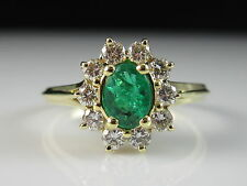 18K Emerald Diamond Halo Ring G/VS1 Yellow Gold Fine Jewelry Size 10.5 $2900