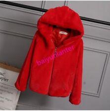 Fashion Ladies Girls Faux Fur Thicken Warm Jacket Hooded Zip Sweet Coat Outwear