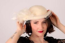 Vintage cream felt feather deby bowler hat wedding races revival collector