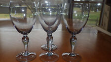Smokey Crystal Wine Glasses with COntrolled Bubble Stem 4 8 ounce stems