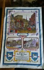 Vtg cotton linen tea towel Preston Guild Merchant 1972 Friargate monitor designs