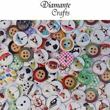 100 15mm WOODEN BUTTONS - Random Mix - Craft Card Sewing Scrapbook - Design 4