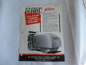 1955 Galion 3-5 ton tandem roller specification sheet brochure
