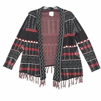 Designers Closet BILLABONG Open Front Cardigan Sz M Gray Red Aztec Print Fringe