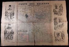 Map Published by the Petit Journal Des Balkans Theaters of Wars with Engravings