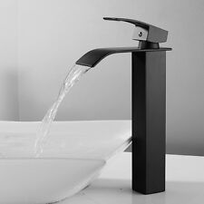 Waterfall Bathroom Sink Taps Basin Mixer Tap Stainless Steel Square Mono Faucet.