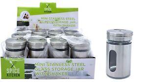 Mini Shaker Glass Storage Jar Stainless Steel Herb Spice Pepper Salt