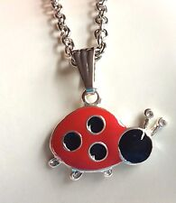 """Silver Ladybug Necklace Red Black Enamel Plated Insect Beetle Bug 20"""" USA Seller"""