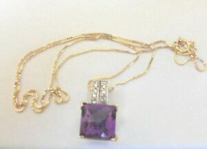 "LOVELY 10K YELLOW GOLD SQUARE AMETHYST & 10 DIAMONDS  IN PENDANT 16""CABLE CHAIN"