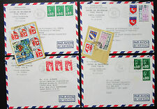 France Set of 4 Covers Stamps Airmail Lupo MiF MeF Frankreich Briefe (H-8222