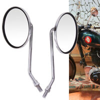 Chrome Motorcycle Classic Round Rearview Side Mirrors 10MM Universal For Honda