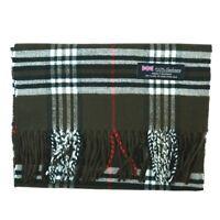 Men Women 100% CASHMERE Scarf tartan Plaid Design Soft MADE IN SCOTLAND Brown