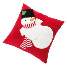 ST NICHOLAS SQUARE DECORATIVE HOLIDAY SNOWMAN PILLOW RED NEW POLYESTER