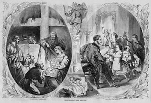 SANTA CLAUS GOING DOWN CHIMNEY CHRISTMAS NOW AND THEN TOYS CHILDREN 1860 HISTORY