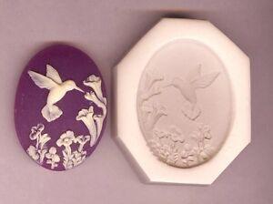 CAMEO 40x30 Hummingbird With Flowers Feeding Hard Polymer Clay Push Mold #25