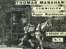1870's-80's Thomas Manahan Commission Paper Warehouse NY Engraved Trade Card F75