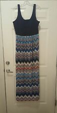 Fifth & Park maxi dress XL sleeveless full length casual multi-color polyester