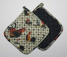 Set of 2 Great Finds ROGER Quilted Cotton Pot Holders ROOSTERS