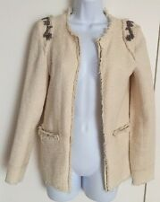 Women's PULL & BEAR Cream Boucle Cardigan Jacket With Embroidery Size XS / Uk 8