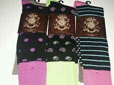 NWT 6 Pair Mens English Laundry Dress Socks Size 9-12 Pink Paisley Stripes Dots