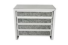 Crushed crystal mirrored large chest of 4 drawers