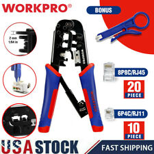 Workpro Rj45 Insulation Wire Stripper Cutter Crimper Pliers Terminal Tool Set Us