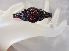 Vintage-Antique Victorian Rose-Cut & Table Top Bohemian Garnet Bangle Bracelet
