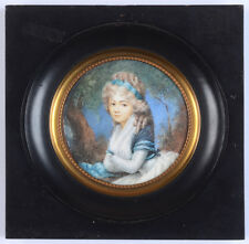 """Portrait of a young lady"", high quality French miniature !!, ca. 1790"