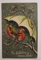 Neujahr, Vogel, Schirm, Schneeflocken, 1907, Prägekarte ♥ (38708)
