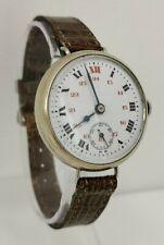 Vintage WW1 Era 34mm Nickel Cased 24hr Ceramic Face Officers Trench Wrist Watch