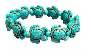 Genuine Handmade Turquoise Sea Turtles Stretch Bracelet