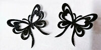 2 X PAPILLON couleur NOIR glitter Patch thermocollant  hotfix BLACK 5.5 cm
