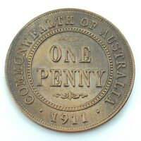 1911 Key Date Commonwealth Australia One 1 Penny George V Uncirculated Coin H356