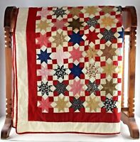 Vtg Red Star Queen Quilt Blanket Bed Spread Patchwork 75 x 75 Amish Decor Gift