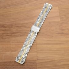 16mm Kreisler Stainless Stripe Two Tone Vintage Watch Band Replacement Good Cond
