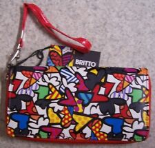 Romero Britto Wristlet Clutch Wallet 3 sided zipper small Hearts NEW with strap