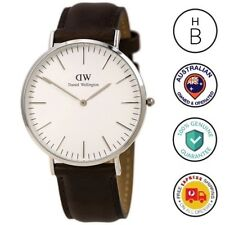 New Daniel Wellington Mens Watch Classic Bristol Silver Tone Leather 0209DW