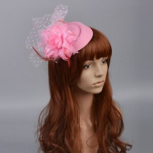 Pink Lady Handmade Pillbox Hat Fascinator Handmade Hair Clips Cocktail Accessory