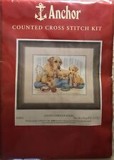 "Anchor Cross Stitch Kit UK Golden Labrador Family Dogs Puppies Rare 9"" X 12"" New"