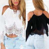 Sexy New Women Casual Boho Lace Off Shoulder Shirt Summer Crop Tank Tops Blouse