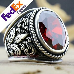 Turkish Handmade Ottoman 925 Sterling Silver Ruby Men's Luxury Ring All Sizes