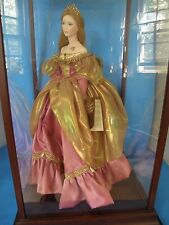 "FRANKLIN MINT CINDERELLA 19"" PORCELAIN DOLL BY GERDA NEUBACHER IN DISPLAY CASE"